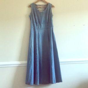 VINTAGE R&R JEAN CUTOUT BACK MAXI DRESS